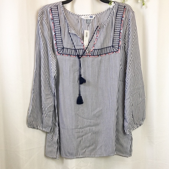 bb447ae400b Old Navy Tops | Nwt Embroidered Striped Tunic Shirt | Poshmark